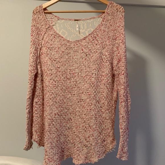 Free People Crochet Back Tunic Sweater size small